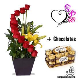 Arreglos Florales 12 Rosas Con Lilys Chocolates Solo Cdmx