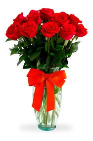 Arreglos Florales 12 Rosas Rojas Naturales Florero Cdmx