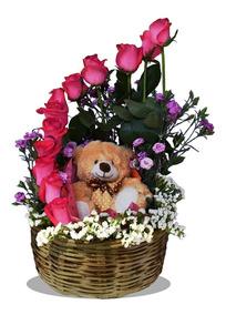 Arreglos Florales 12 Rosas Rosas Naturales Y Osito Solo Cdmx