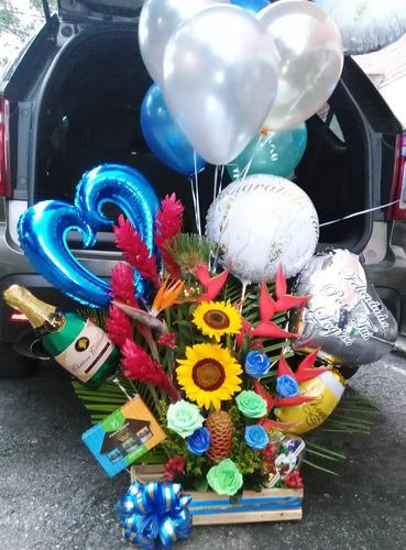 arreglos florales caja de rosas globos helio