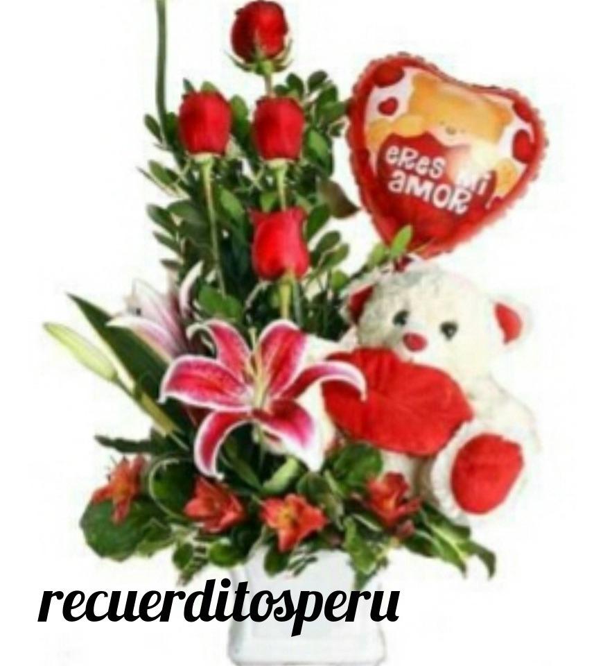 Arreglos Florales Con Globo Y Peluche Feliz Dia Mujer