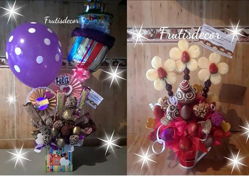 arreglos frutales chocolate globos metalizados cestas tazas