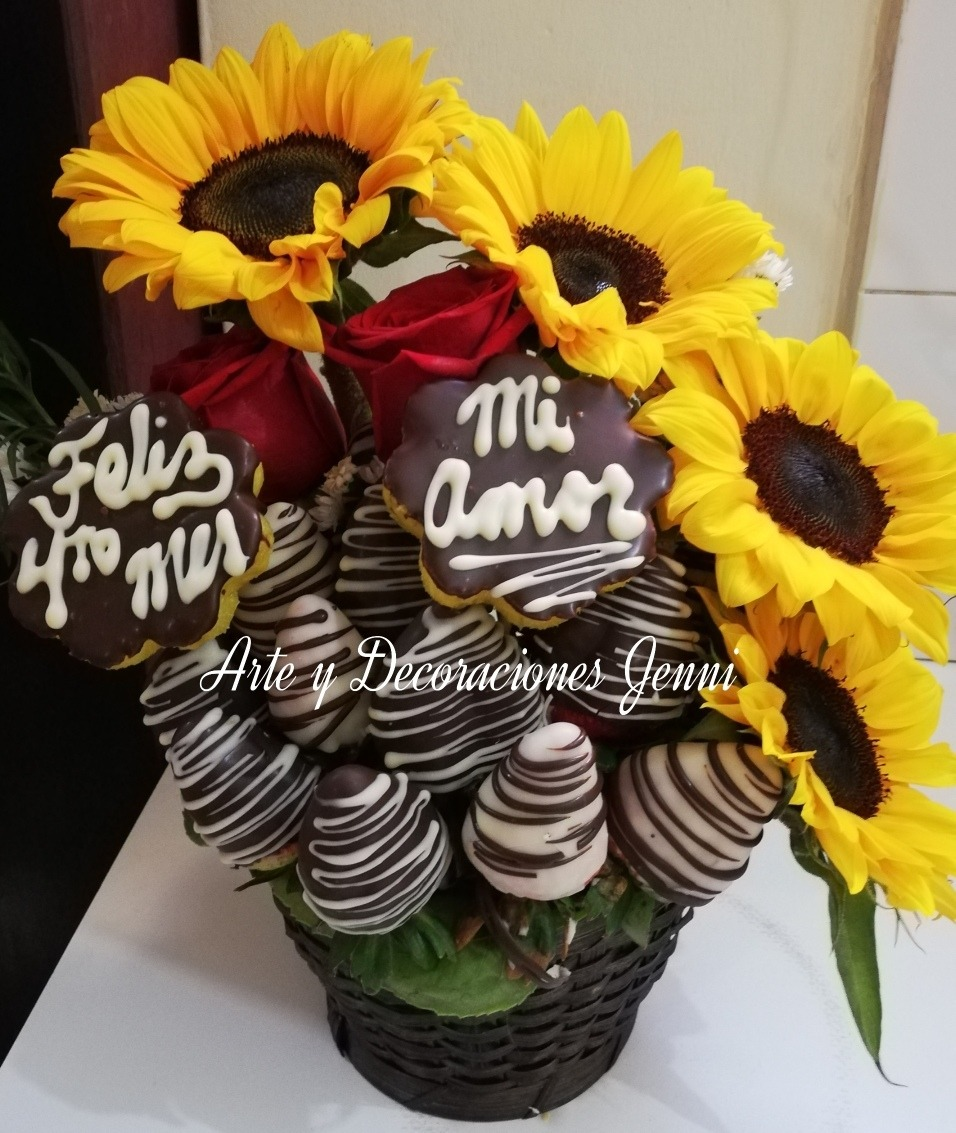 Arreglos Frutales Fresas Con Chocolate Flores Peluches