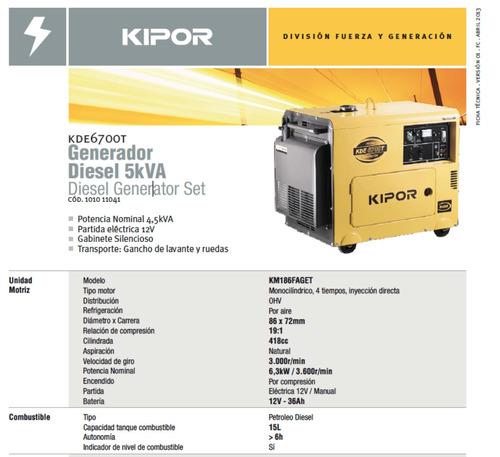 arriendo generador kipor insonorizado 5kva diesel - nuevo