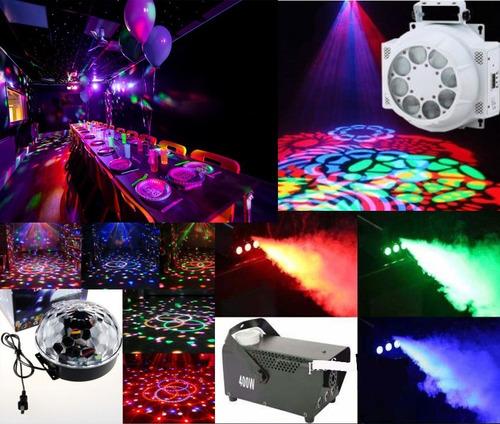arriendo luces, fiesta flúor, máquina humo, amplificación