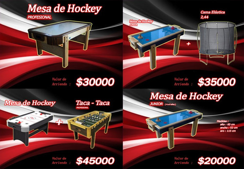 arriendo mesa de aire  hockey, taca taca, arcade