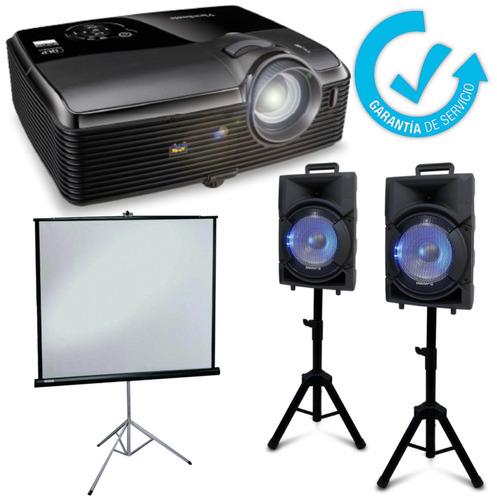 arriendo proyector data telón sonido parlantes para eventos