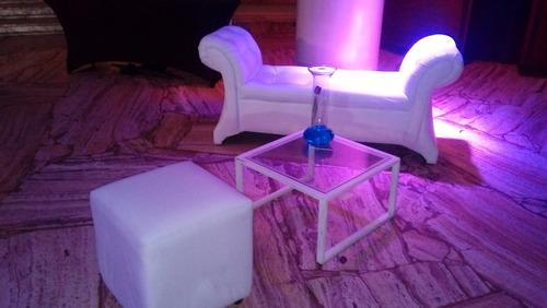 arriendo puff, led, mobiliario lounge.