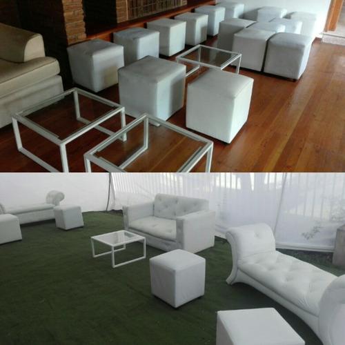 arriendo puff pera blancos, mobiliario lounge.