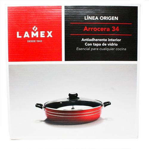 arrocera 34 cm con antiadherente y tapa de vidrio roja lamex 6591-3