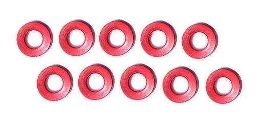 arruela alumínio lisa m3 2mm red 10 unids nanda racing