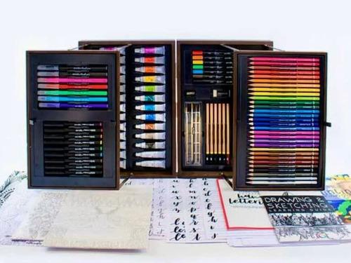 art 101 set de pinturas arte oleo pastel lapiz, 143 piezas