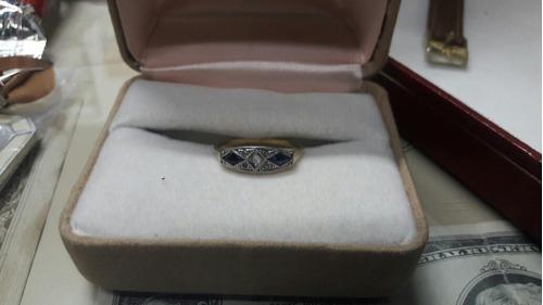 art deco anillo brillante 0.30 ct zafiros