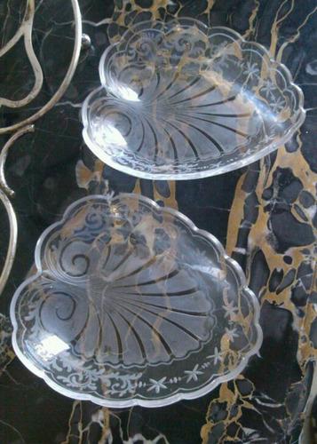art nouveau centro metal plateado cristal tallado grabado