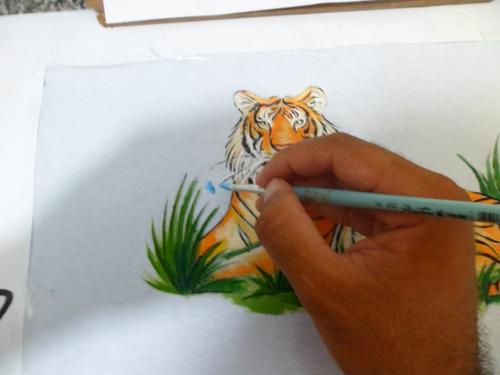 art sem limites - pintura em tecido - tigre
