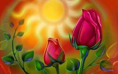 arte abstracto - pimpollos de rosas - lámina 45x30 cm.