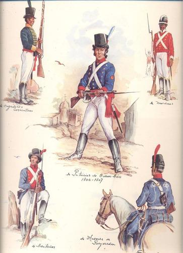 arte argentino-  militares- e. marenco- 5 ilustraciones en 1