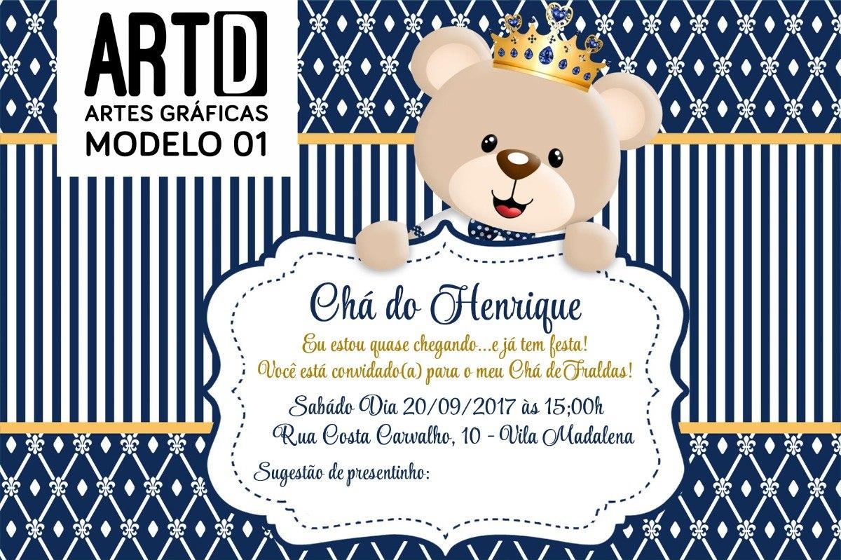 Tag Convite Cha De Fralda Urso Principe