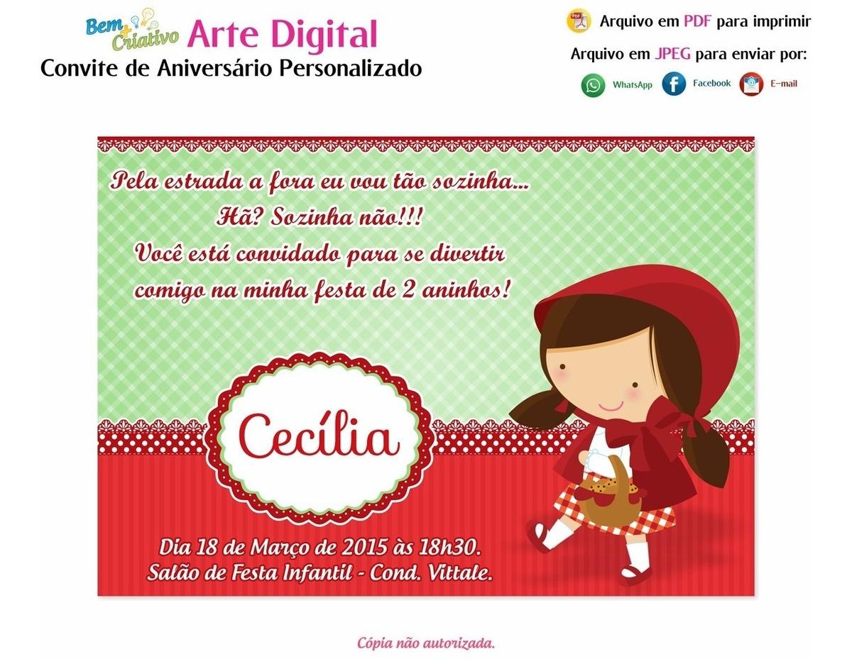 Arte Convite Digital Aniversario Chapeuzinho Vermelho R 19 99