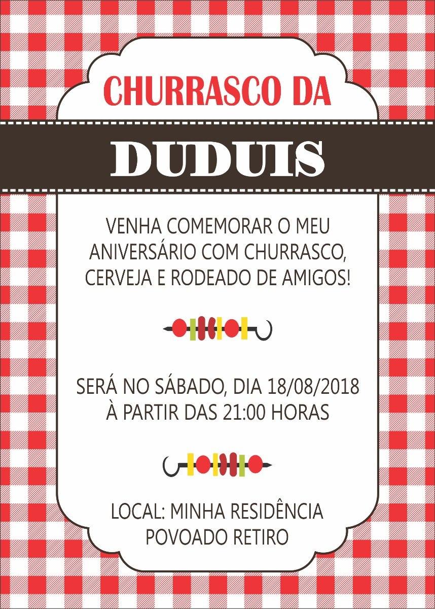 Arte Convite Digital Churrasco R 1690 Em Mercado Livre