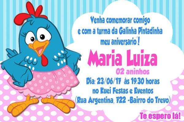 Arte Convite Digital Galinha Pintadinha Personalizado R