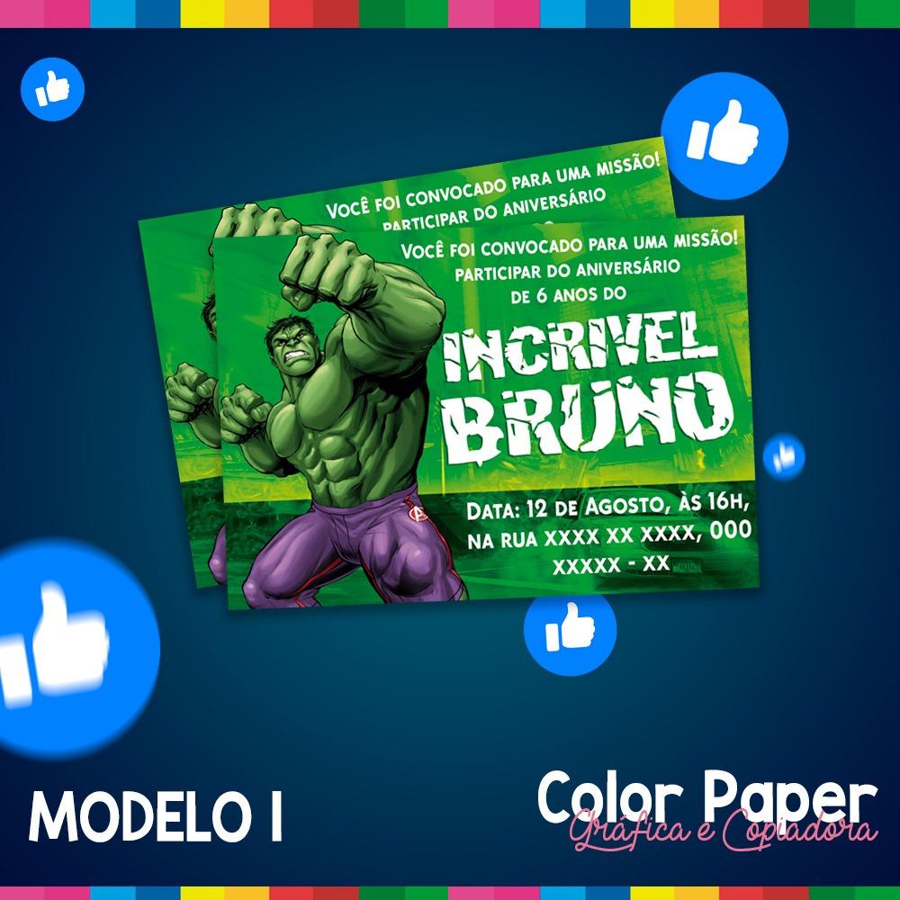 Arte Convite Digital Hulk Personalizado Whatsapp R 1500 Em