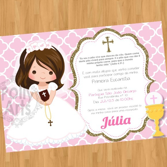 Arte Convite Digital Primeira Comunhão Eucaristia Menina