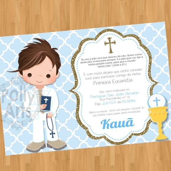 Arte Convite Digital Primeira Comunhão Eucaristia Menino R 1790