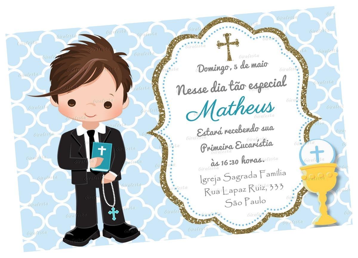 Arte Convite Digital Primeira Comunhão Eucaristia Menino