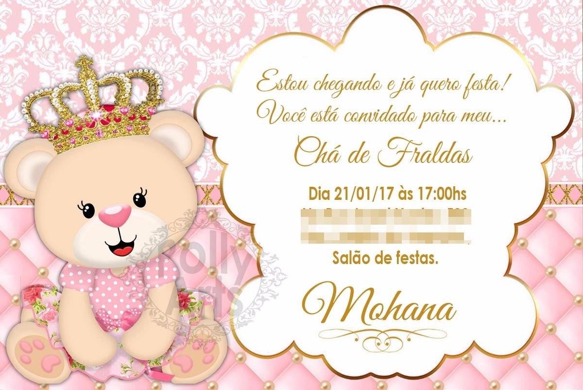 Arte Convite Digital Ursinha Princesa Chá Ou Aniversario R 1790