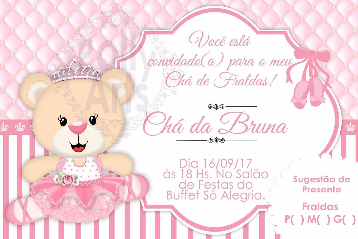 Arte Convite Digital Virtual Ursinha Bailarina R 1499 Em Mercado