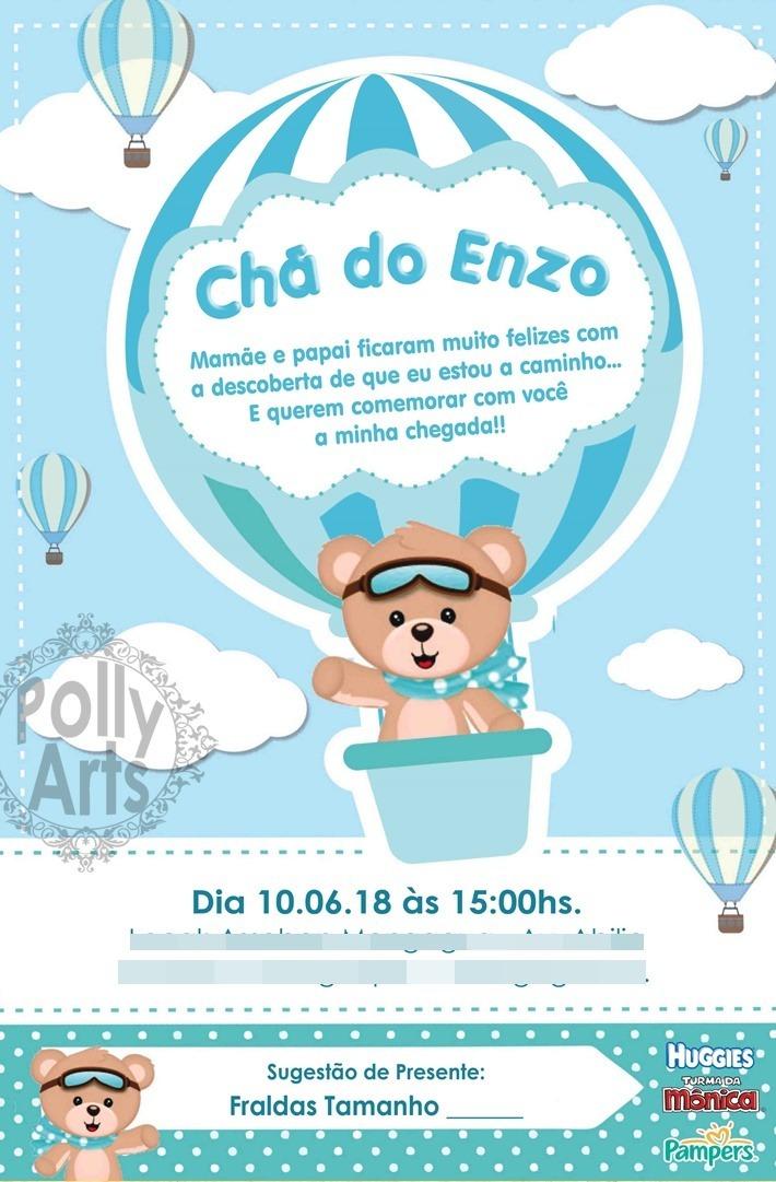 Arte Convite Digital Virtual Ursinho Baloeiro Balao R 17 90 Em