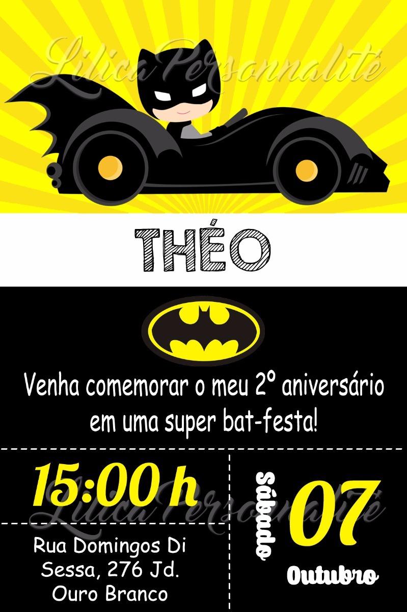 Arte De Convite Digital Aniversário Infantil Batman - R