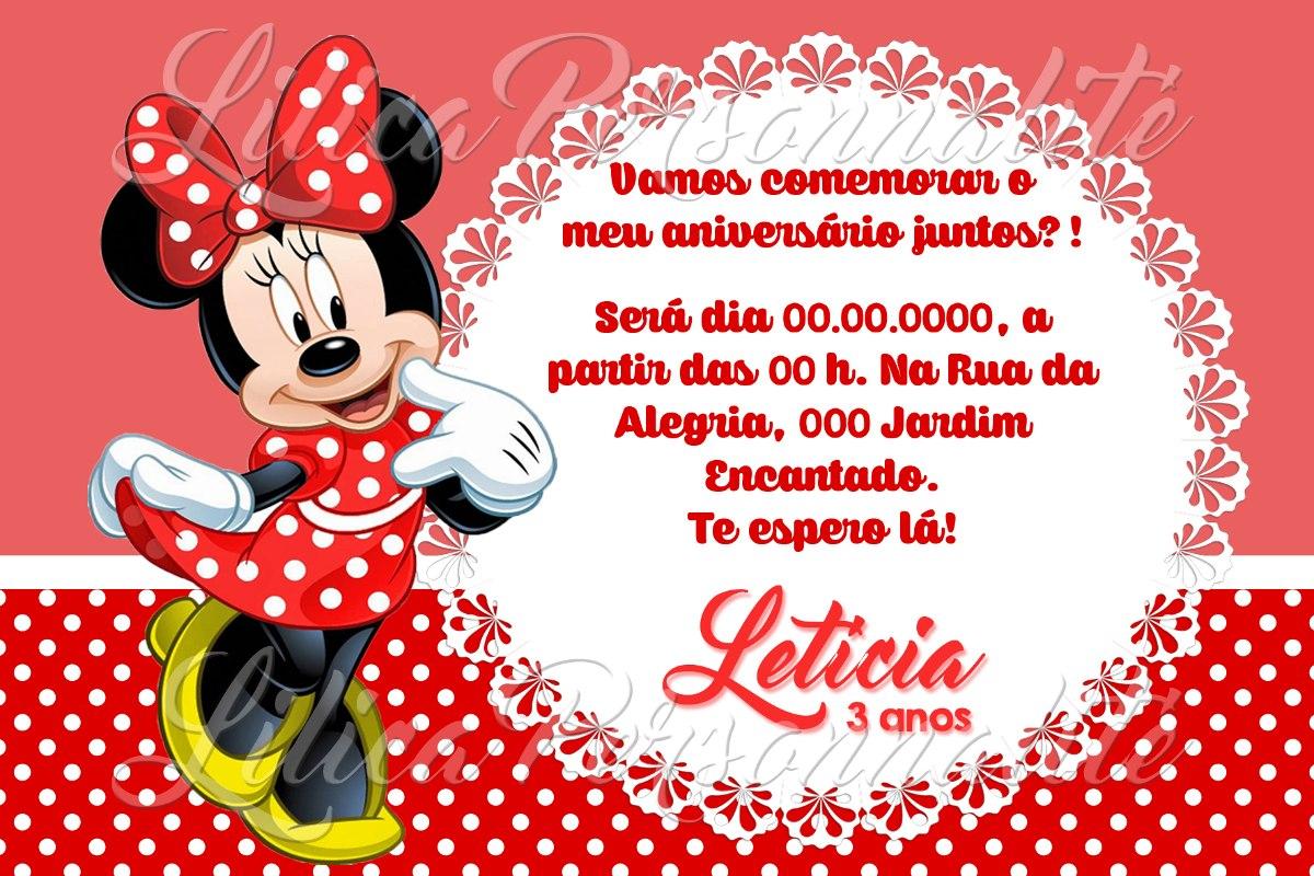 Arte De Convite Digital Aniversário Infantil Minnie Vermelha R 20