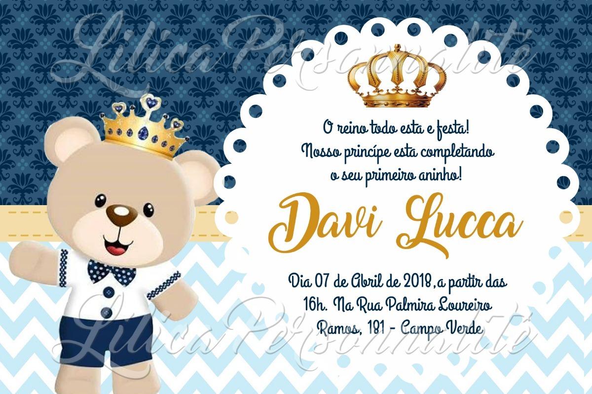 Arte De Convite Digital Aniversário Infantil Urso Principe R 20