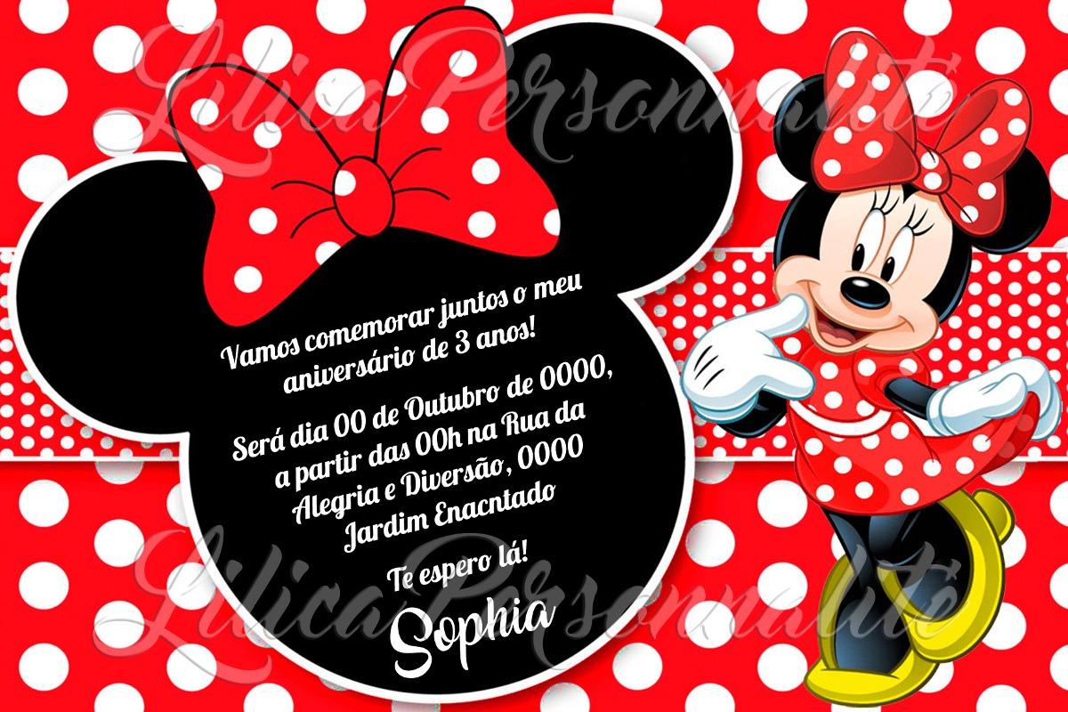 Arte De Convite Digital Aniversário Minnie Vermelha 2 R 2000 Em