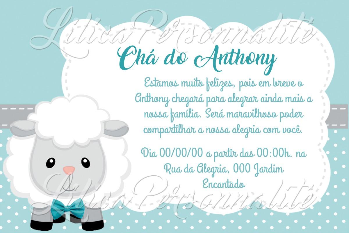 Arte De Convite Digital Chá De Bebê Ovelhinha Menino R 2000 Em
