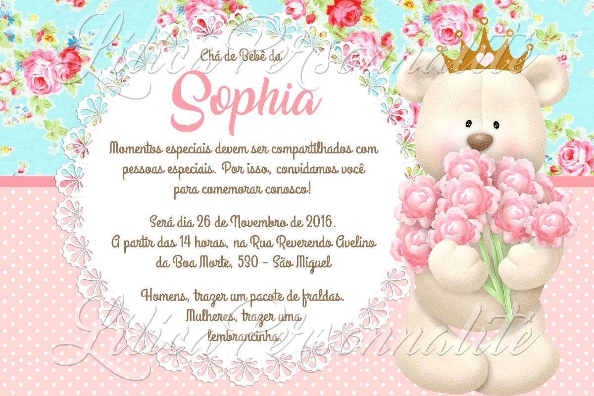 Arte De Convite Digital Chá De Bebê Ursa Princesa R 2000 Em