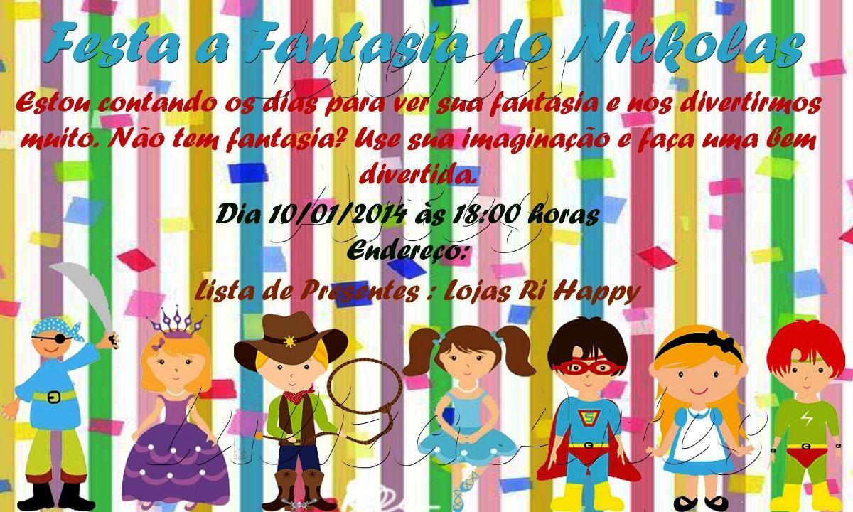 Arte Digita Convite Festa Fantasia 3 R 20 00 Em Mercado Livre