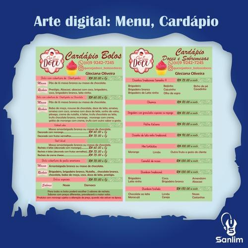 arte digital, cardápio digital, logo, logotipo, mídia social
