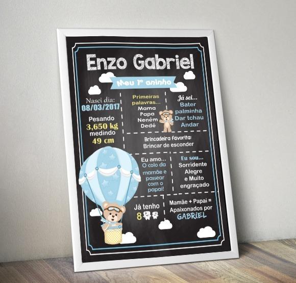 Arte Digital Chalkboard Poster Quadro Ursinho Baloeiro Balao R