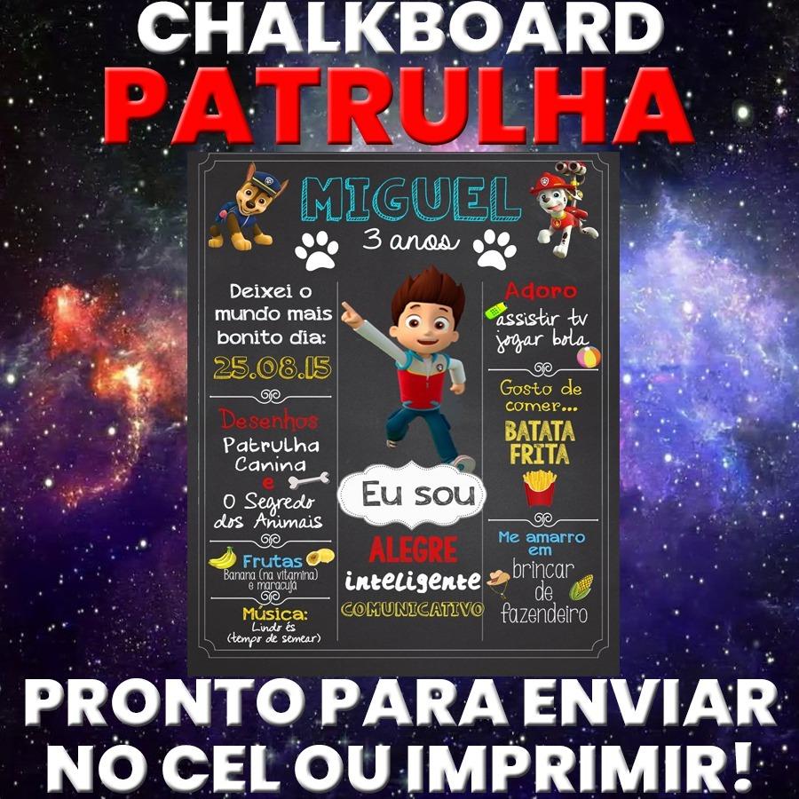 Arte Digital Chalkboard Quadro Promocao Patrulha Canina R 12