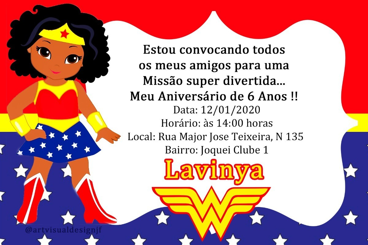 Arte Digital Convite Aniversario Mulher Maravilha Negra R 13