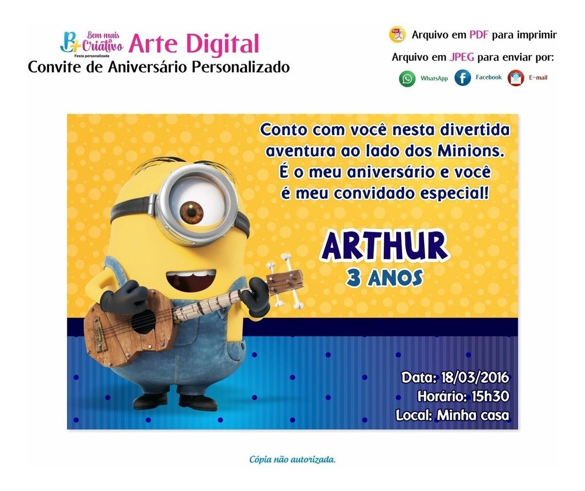 Arte Digital Convite Aniversario Personalizado Minions R 19 99