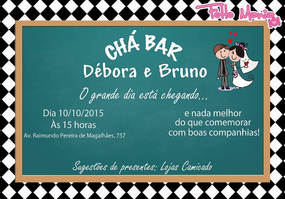 Arte Digital Convite Boteco Formatura Cha Bar Barnela Panela R