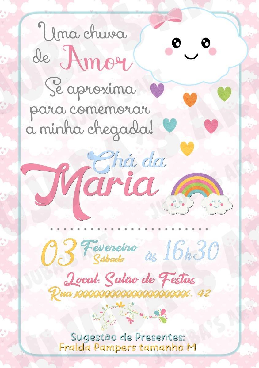 Arte Digital Convite Chá De Bebê Chuva De Amor Benção Rosa R 15