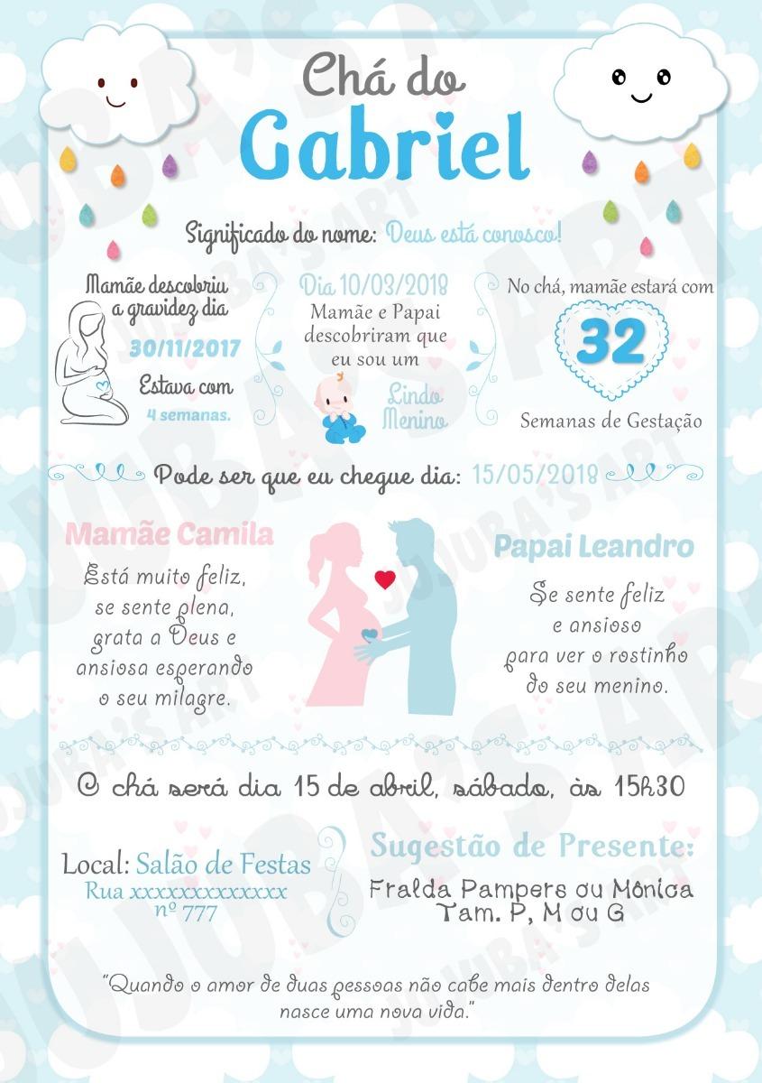 Arte Digital Convite Chá De Bebê Chuva De Amor Menino R 2000 Em