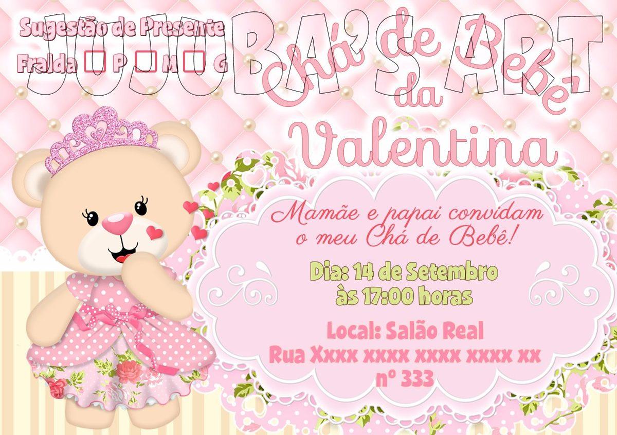 Arte Digital Convite Chá De Bebê Fraldas Ursinha Princesa R 1500