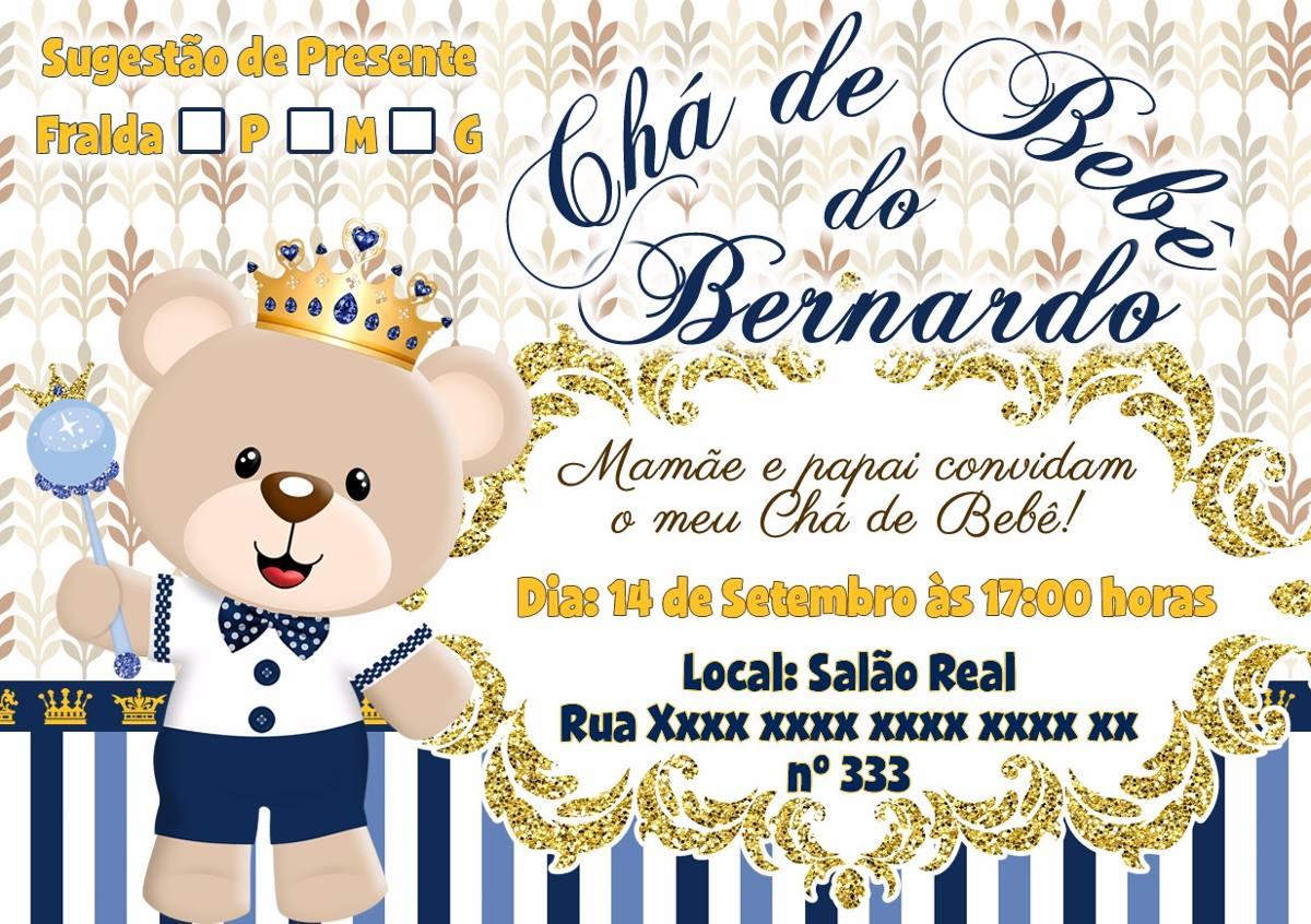 Arte Digital Convite Chá De Bebê Fraldas Urso Coroa Príncipe R 15