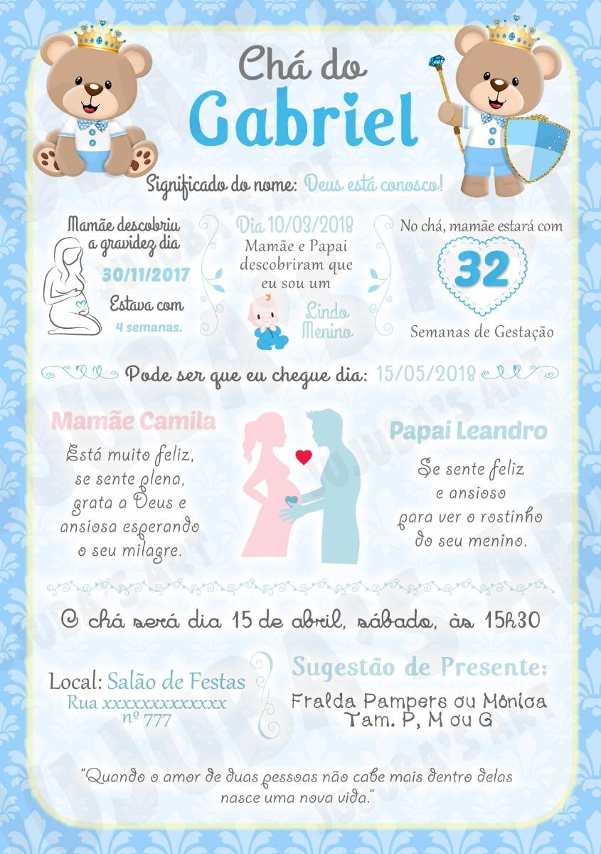 Arte Digital Convite Cha De Bebe Ursinho Principe Azul Claro R